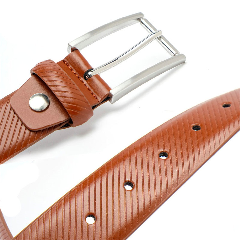 Anieca Genuine Leather Belts For Men Belt Pants Belt Striped Strap 3.5Cm Belt