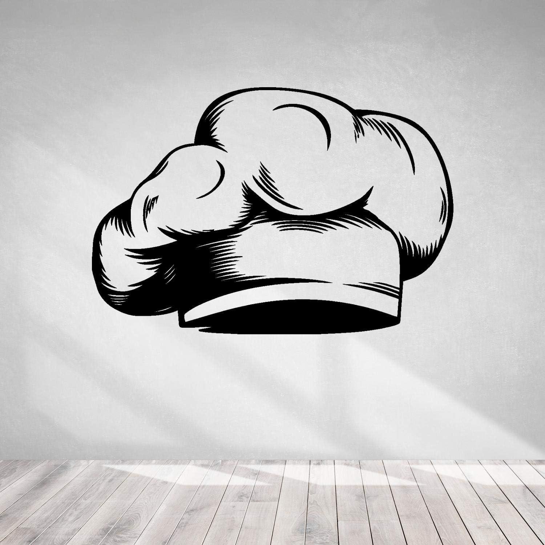 Cook Theme Sticker-Chef Hat Restaurant Kitchen-Wall Decal Cook Food Cafe-Kitchen Pizza Bar Restaurant Wall Stickers Decor-Removable Wall Decals-0-032BGN15-45x66 in