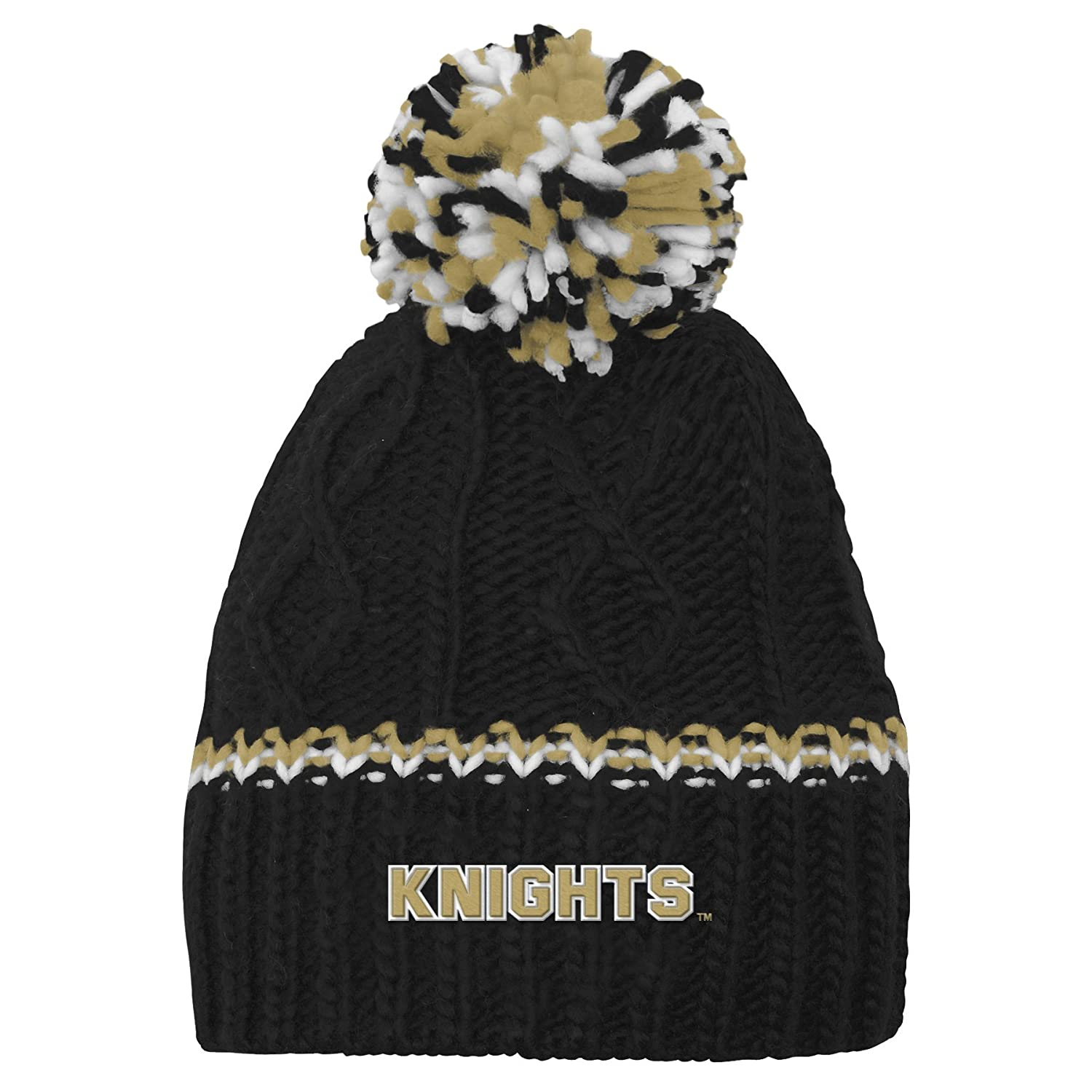free shipping 1a5e5 b4641 Amazon.com   NCAA by Outerstuff NCAA Central Florida Golden Knights Youth  Girls Cable Knit Cuffless Hat w  Pom, Black, Youth One Size   Sports    Outdoors