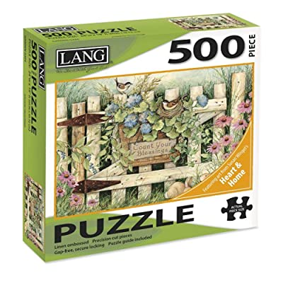 "LANG - 500 Piece Puzzle -""Garden Gate"", Artwork by Susan Winget - Linen Finish - 24"" x 18"" Completed: Toys & Games"