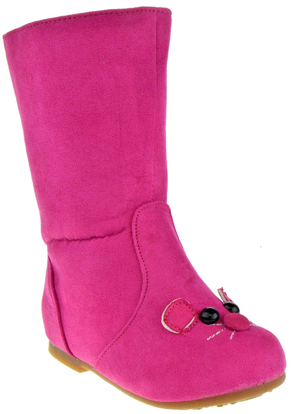 Lucky Top Raniya Little Girls Slouch Kitty Mid Calf Boots Fushia