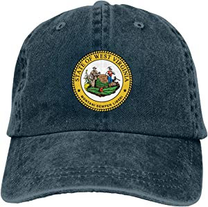 Wqi Home West Virginia State Seal Men Women Denim Baseball Caps Hat Adjustable Dad Hat Low Profile Outdoor