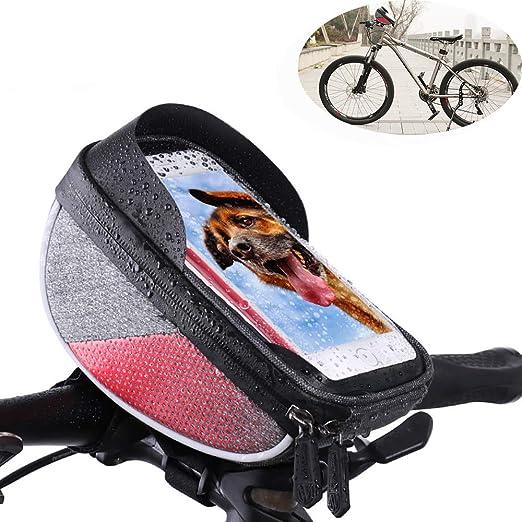 WHTBOX Bolsa De Manillar De Bicicleta, Soporte De TeléFono para Bicicleta, Marco De Ciclismo Impermeable Bolsa,Soporte para TeléFono De Bicicleta Soporte para iPhone Smartphone hasta 6