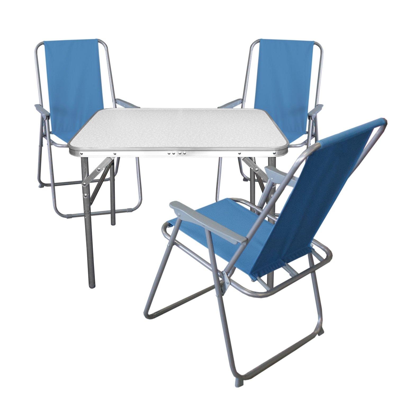 4tlg. Campingmöbel Set Klapptisch, Aluminium, 55x75cm + 3x ...