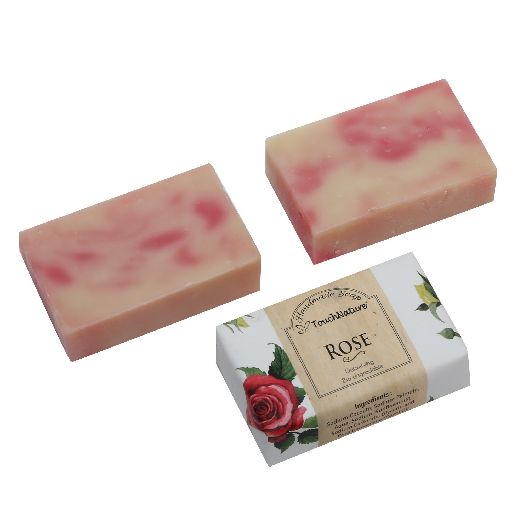 2 pieces 100gm Rose Oil Natural Soap. Free of SLS, SLES, Parabens and carcinogenic ingredients.100% bio-degradable and detoxifying. Moiisturizing, Rejunvenating