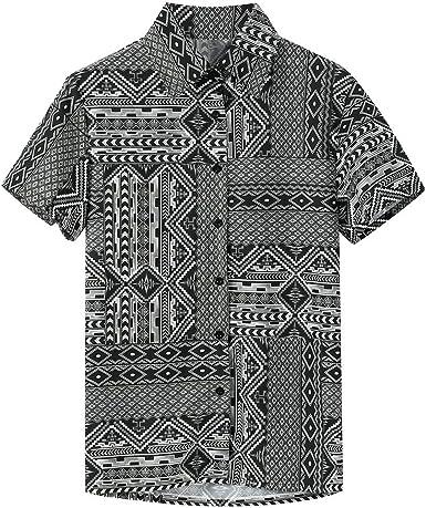XuanhaFU Polo para Hombre de Botón de Suelta De Solapa Estampado Gris Camisa De Poliéster Manga Corta: Amazon.es: Ropa y accesorios