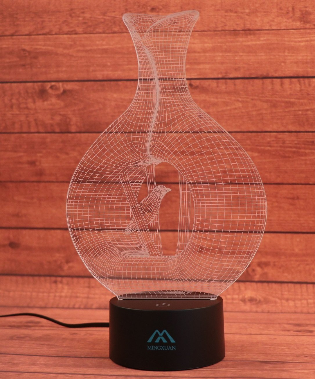 Vase Bird 3D Night Light 7 Color LED Touch Table Desk Lamps Energy Gl Vase With Wooden Base on wooden desk base, wooden lamp base, wooden cross base, wooden cabinet base, wooden bowl base, wooden sculpture base, wooden bed base, wooden statue base, wooden sofa base, wooden light base, wooden chair base, wooden ring base, wooden plaque base, wooden sign base, wooden plant base, wooden wreath base, wooden clock base, wooden table base, wooden tree base, butterfly base,