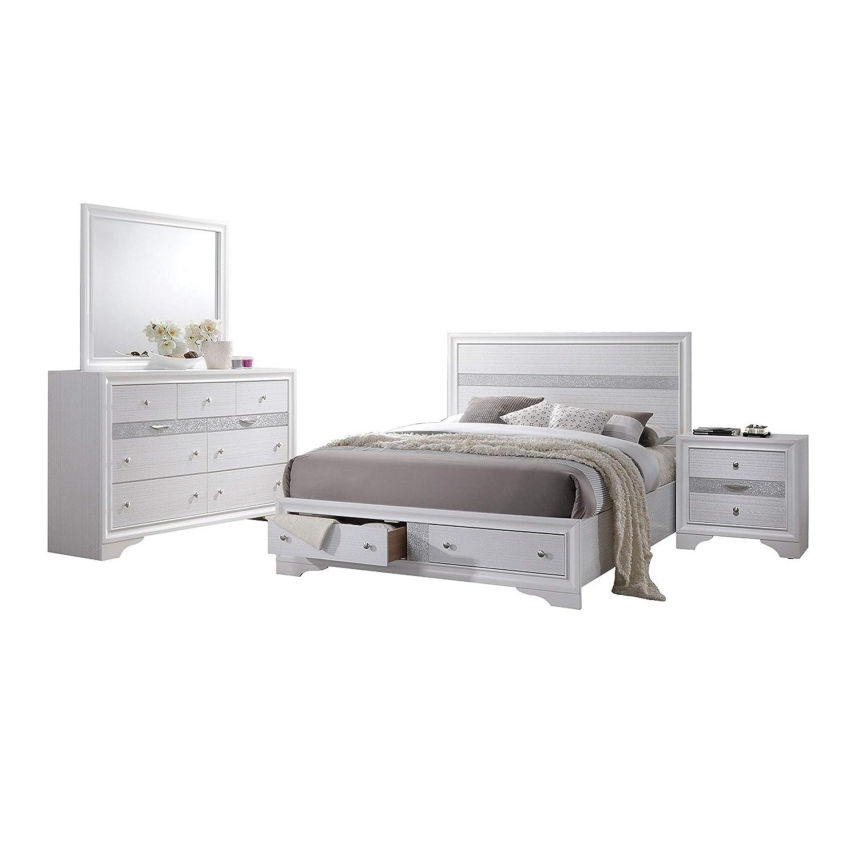Amazon com acme furniture white naima 4 piece storage bedroom set queen kitchen dining