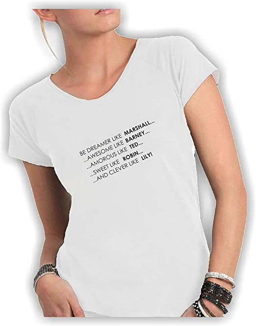 Camiseta Mujer Gargantilla Corte Vivo 100% algodón Peinado Fiammato - How i Met Your Mother - Made in Italy: Amazon.es: Ropa y accesorios