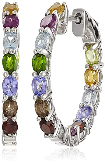 blue rainbow gem silver earring gemstone a garnet energizing topaz multi sterling earrings moonstone