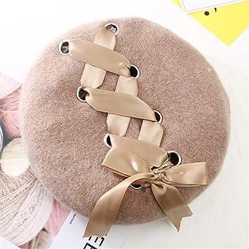 8494e2b2358a6 Amazon.com   New Sweet Cute Berets Women Winter Hats Soft Macaron Color  Ribbon Woolen Lolita Beret Classical Soft Straps Cross Bow beige   Beauty