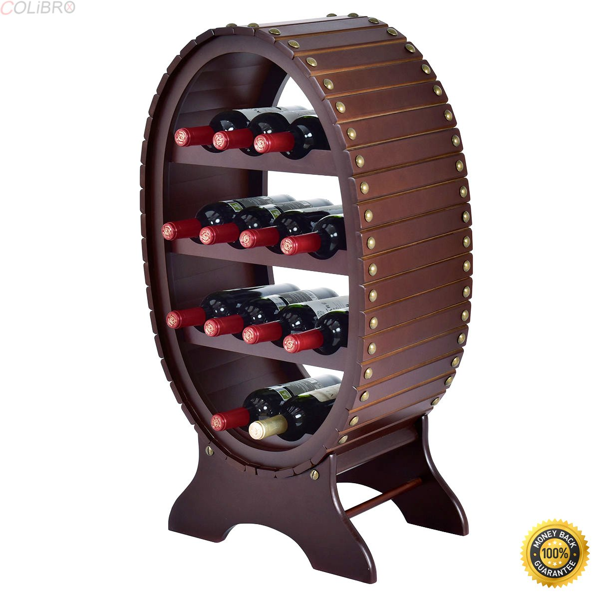 COLIBROX--13 Bottles 4 Tier Vintage Wine Rack Wood Storage Shelf Holder Liquor Home Decor,cheap wine rack,new and Artistic wine rack,Wine Rack Wood Storage