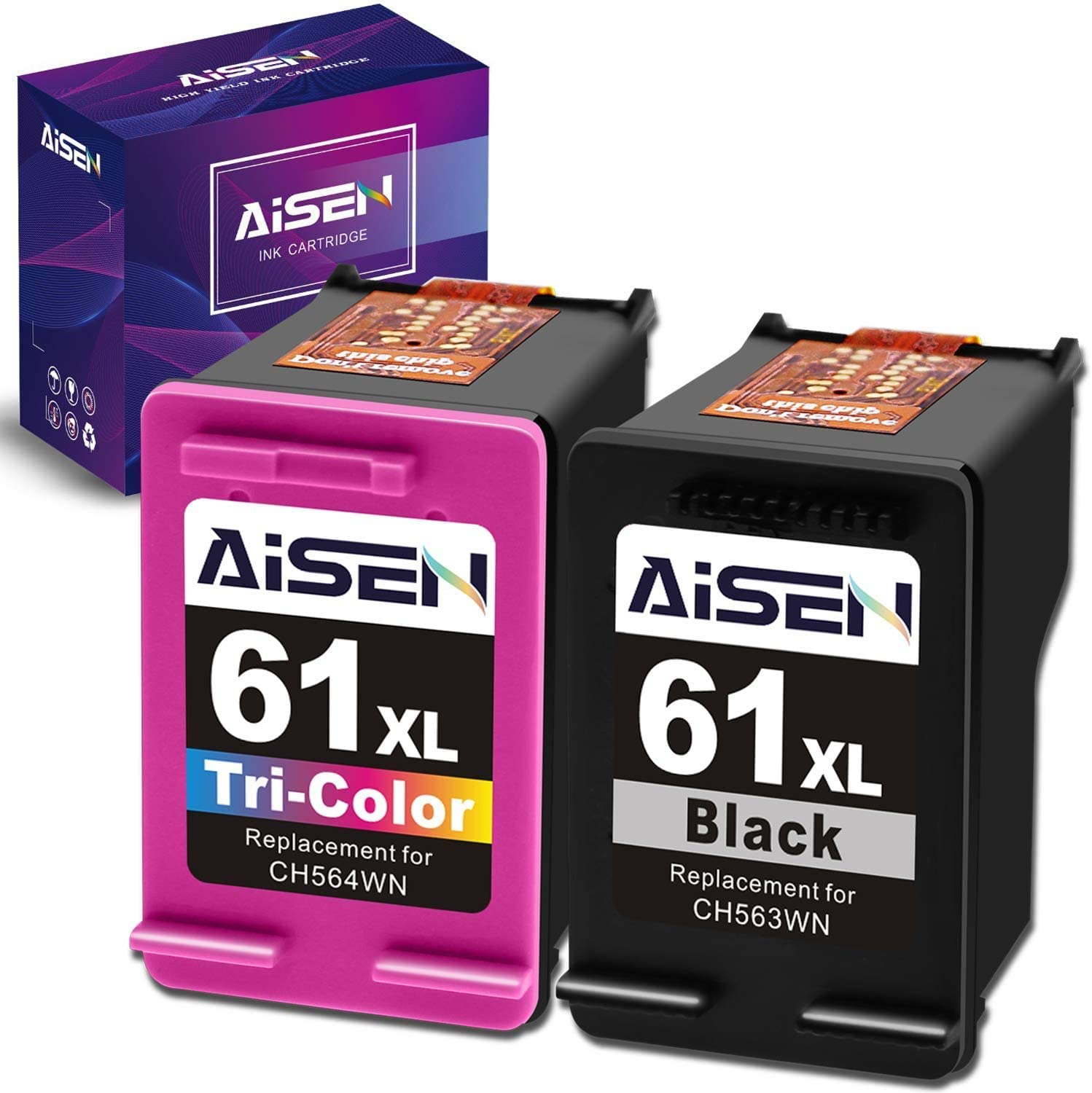 AISEN Remanufactured Ink Cartridge 61 Replacement for HP 61XL 61 XL Used in Envy 4500 5530 5535 Deskjet 1000 1056 1510 1512 1010 1055 2540 2542 3050 3510 3050A Officejet 2620 (1 Black 1 Tri-Color)