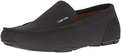 Calvin Klein Men's Manny Nubuck Smooth Driving Style Loafer, Black, 10 M M  US
