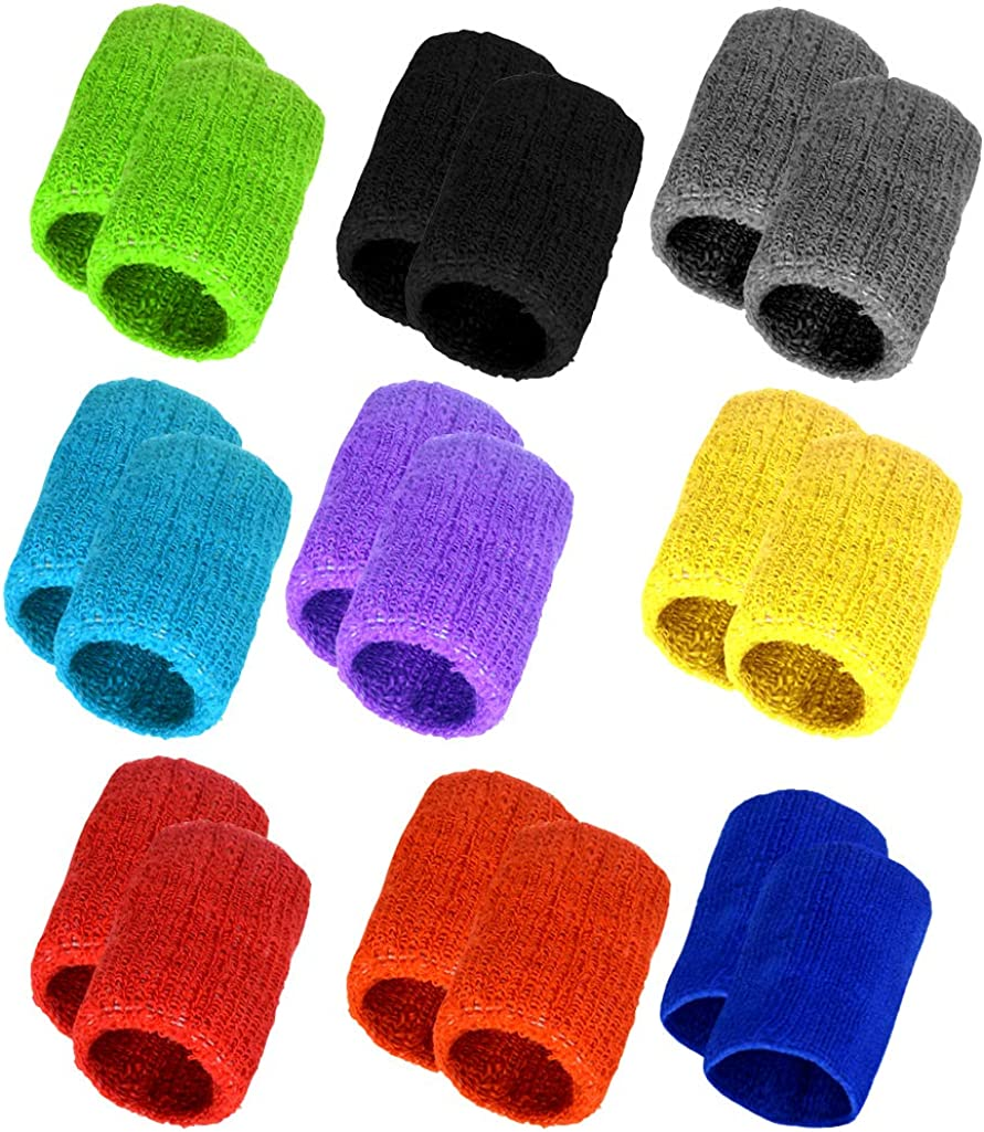 obmwang 9 Pairs Wrist Sweatbands Sports Wristbands Colorful Cotton Sweat Band for Men, Women and Teens, Suitable for Gym, Yoga, Football, and Other Sports