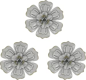 8 Inch Large Metal Flower Wall Art Multiple Layer Home Decor for Outdoor Home Garden Porch Patio Set of 3
