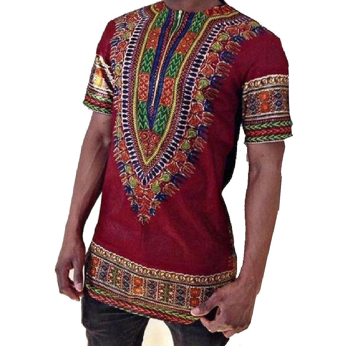 Tingwin Men Crew Neck Dashiki Fashional Short-Sleeve Floral Tees Top
