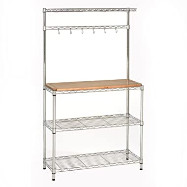 Seville Classics Baker's Rack for Kitchens, Solid Wood Top, 14  x 36  x 63  H