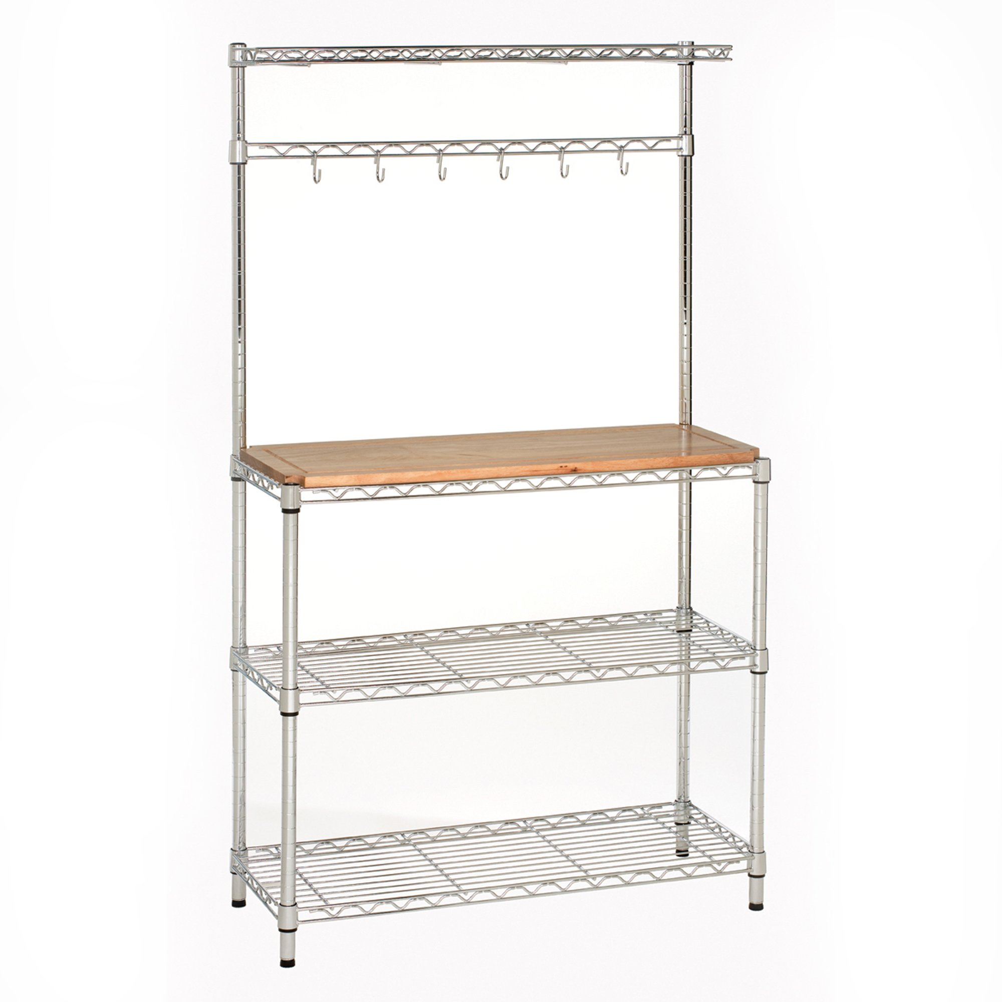 Seville Classics Baker's Rack for Kitchens, Solid Wood Top, 14'' x 36'' x 63'' H