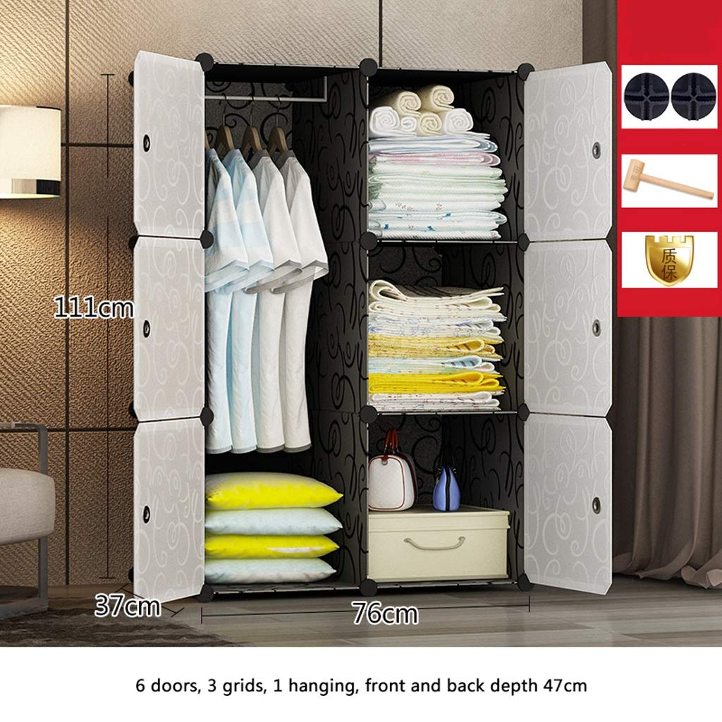 A Clothes Closet Wardrobe Portable Wardrobe Closet Modular Storage Organizer Space Saving Armoire Deeper Cube with Hanging Rod 6 Doors (Size   C)
