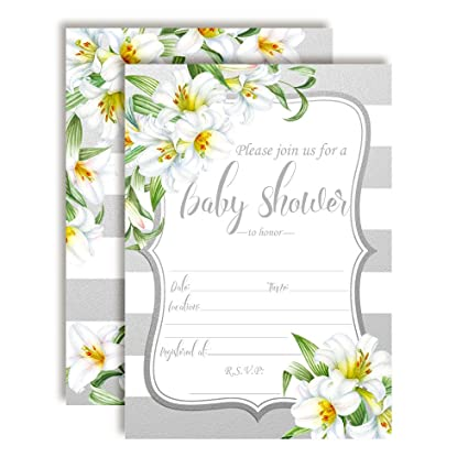 Amazon Watercolor Floral White Lily Baby Shower Invitations 20