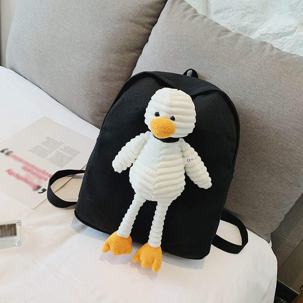 Backpack For Women Female Cartoon Doll Bag Student Campus Plush Cute Canvas Bag