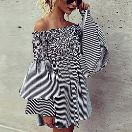 Pengy Women Fashion Boho Off Shoulder Flare Sleeve Stripe Casual Sundress Party Dress Pleated Dress