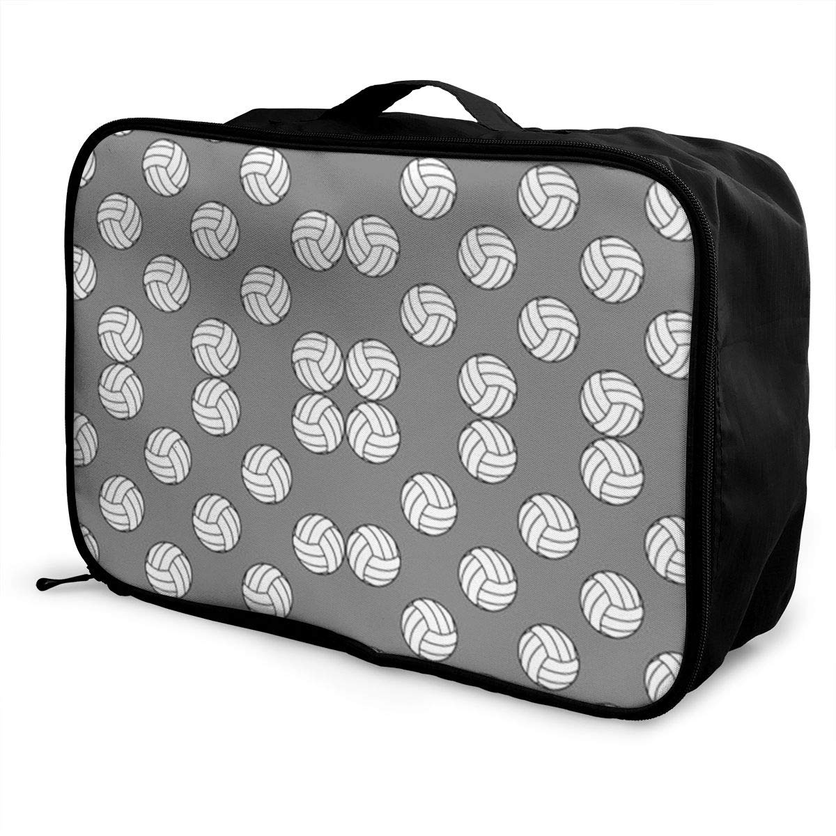 ADGAI One Inch Black and White Volleyballs On Medium Gray Canvas Travel Weekender Bag,Fashion Custom Lightweight Large Capacity Portable Luggage Bag,Suitcase Trolley Bag