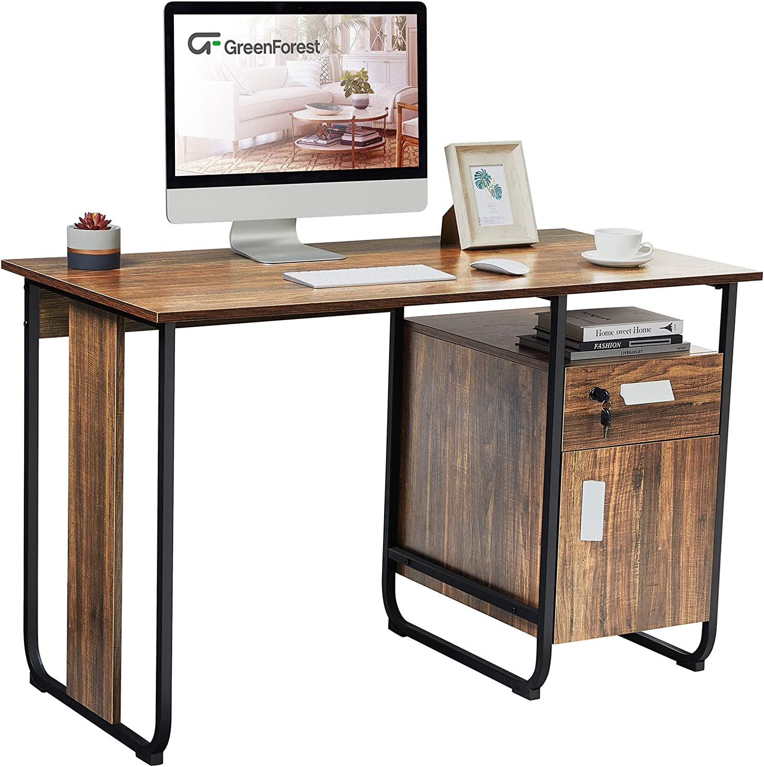 GreenForest Writing Desk with Drawer and Cabinet 47 inch for Student, Industrial Style Home Office Computer Gaming Study PC Laptop Desk