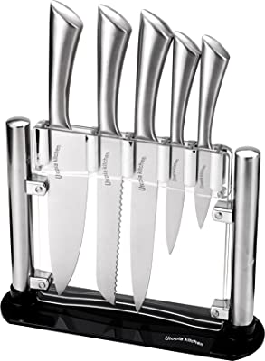 Cooking Knife Set 5 Pieces Stainless Steel Knives with an Acrylic Stand