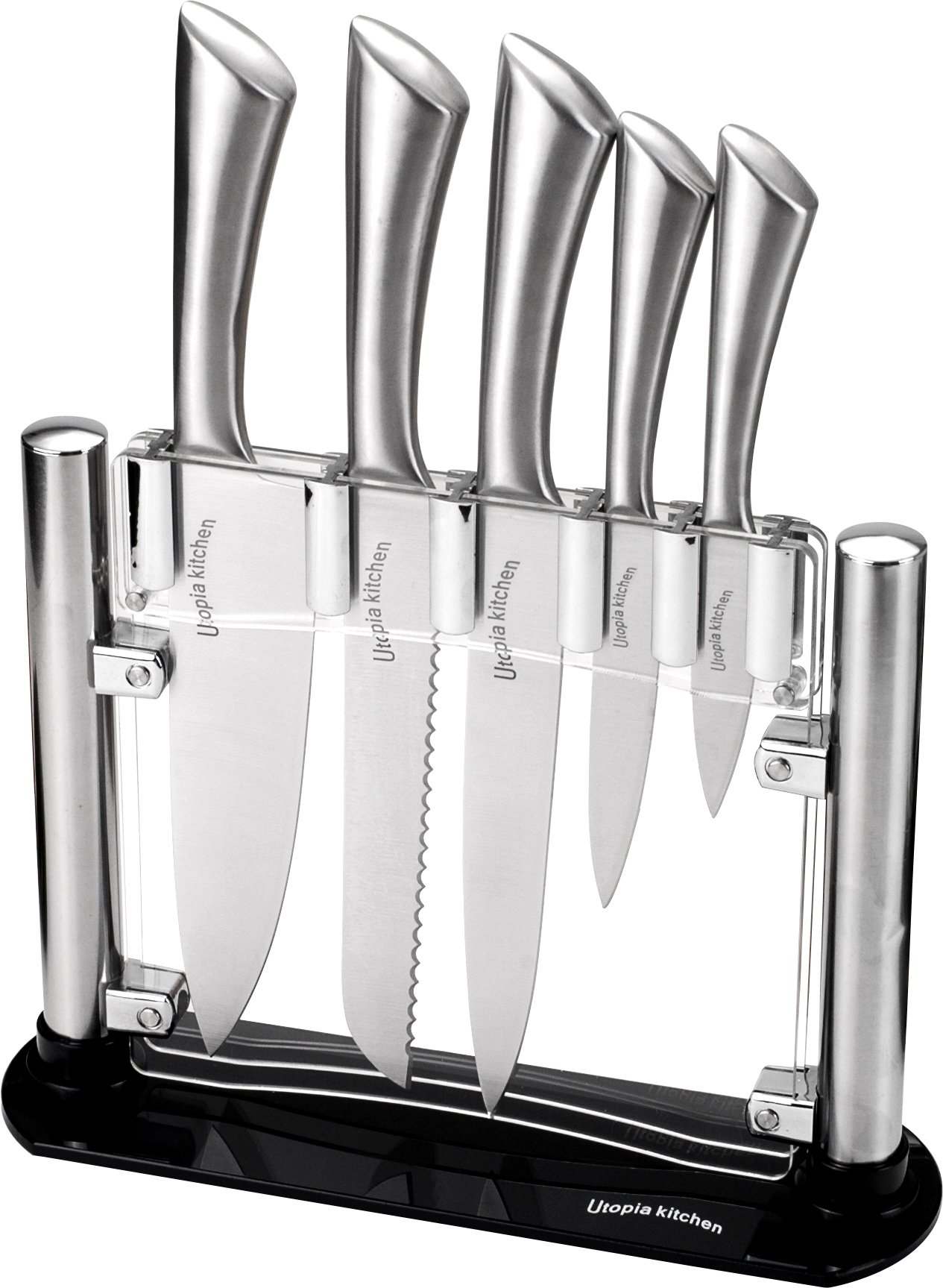 Premium Class Stainless Steel Kitchen 6 Piece Knives Set (5 Knives plus an Acrylic Stand) - by Utopia Kitchen by Utopia Kitchen