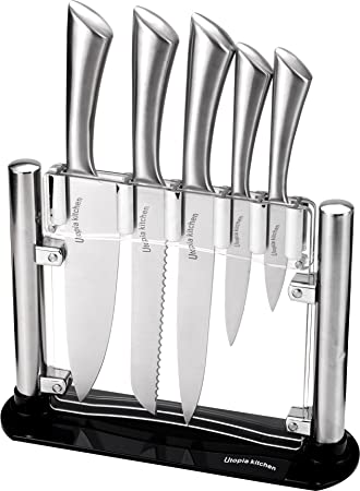Premium Class Stainless Steel Kitchen 6 Piece Knives Set (5 Knives plus an Acrylic Stand) - by Utopia Kitchen
