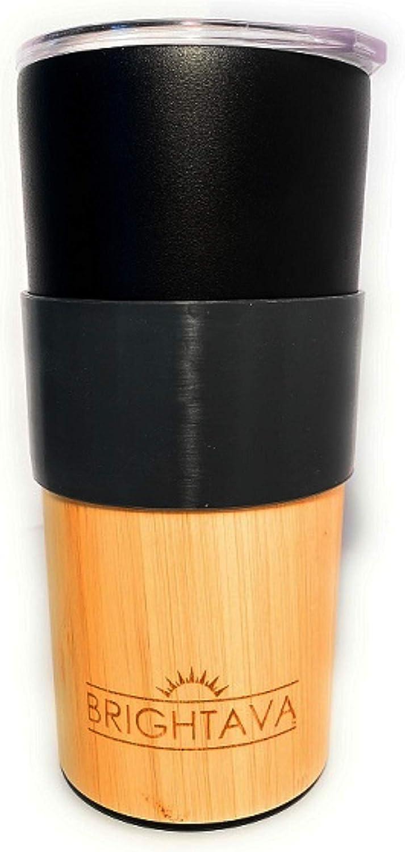 Stainless Steel Tumbler Vacuum Insulated Travel Mug - Coffee Tea Beverage Drinkware 16 oz Black Bamboo by Brightava