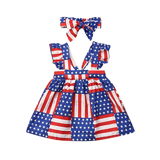 Newborn Kids Baby Girls Stripes Dress Sundress Casual Clothes Headbnad Outfits