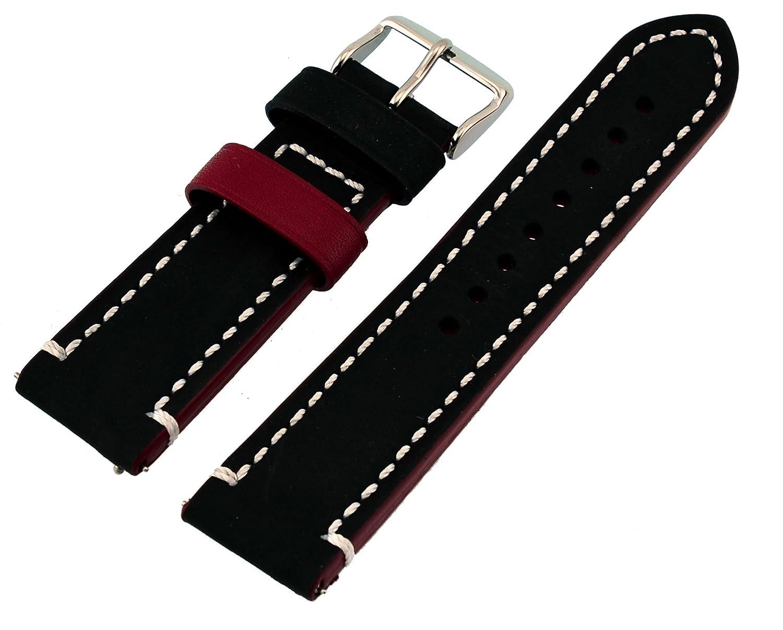 Rev純正Crazy Horseデュアルカラーレザー腕時計交換バンド – Neroブラック/レッド18 mm、20 mm、22 mmまたは24 mm 18mm Nero Black/Red  18mm B079GJYJDY