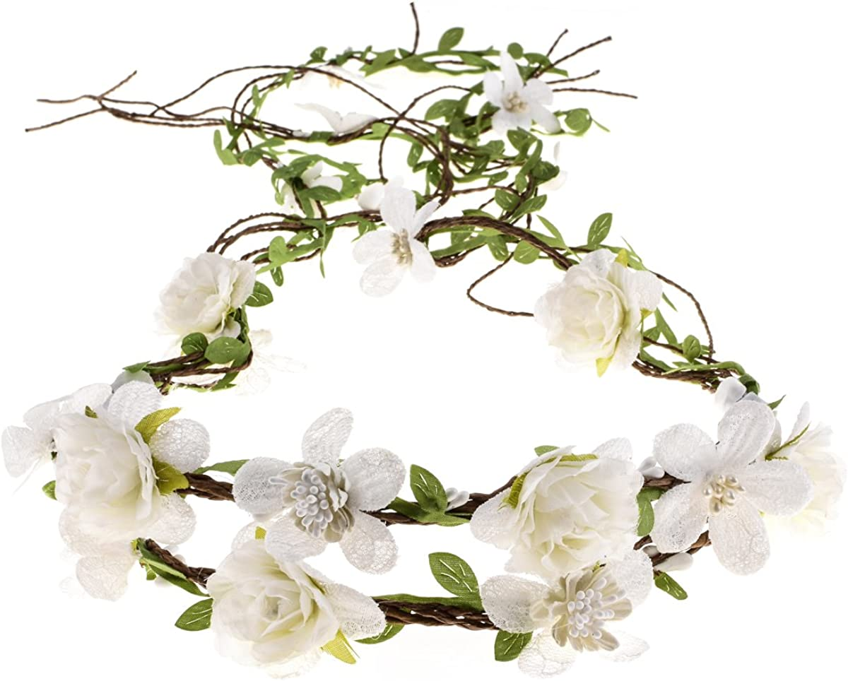 Floral Fall Adjustable Bridal Flower Garland Headband Flower Crown Hair Wreath Halo F-83