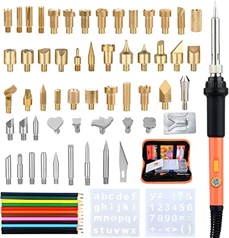 Wood Burning Kit Professional Pyrography Wood Burner Pen Tool with Soldering Iron Tips Set Temperature Adjustable for Wood Carving//Embossing//Soldering