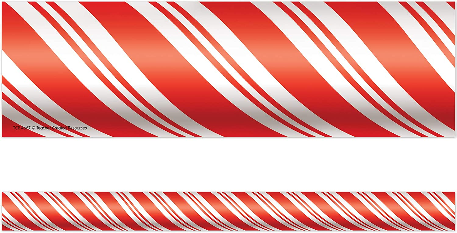 4667 Red//White Teacher Created Resources Candy Cane Straight Border Trim