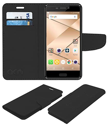 uk availability 9150f 4ce11 Acm Leather Flip Wallet Case for Micromax Canvas 2 Q4310 Mobile Cover Black