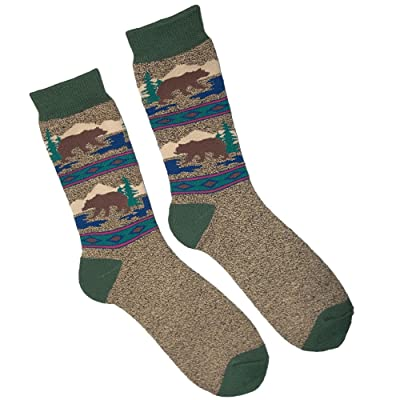 Ace USA Brown Bear in the Woods Patterned Men's Towel Socks One Size Fits Most at Amazon Men's Clothing store