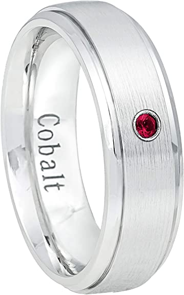 July Birthstone Ring 0.07ct Ruby Titanium Ring 6MM Brushed Finish Comfort Fit Pipe Cut White Wedding Band