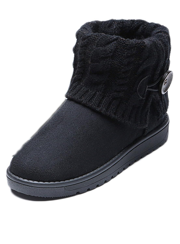 Lalang Femme Bottes Fourrées de Hiver Neige Hiver Chaudes Bottes Boots Bottes Fourrées Cheville Chaussures Noir b84a097 - automatisms.space