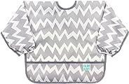 Bumkins Babero Impermeable con Mangas, Diseño de Zigzag Gris, 6-24 meses