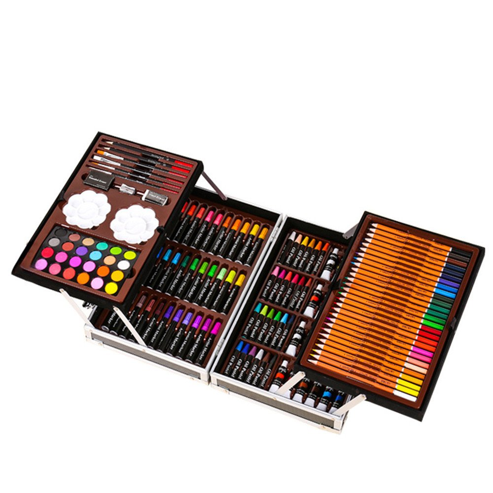 JIANGXIUQIN Artist Art Drawing Set, 145 Luxury Art, Painting and Painting Art, Alloy Box Art Including Acrylic, Oil, Watercolor Paint, Oil Pastels, Colored Pencils. Gifts for Children and Children.