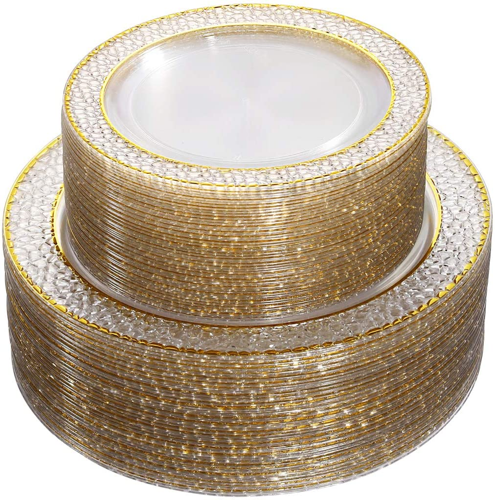 Black Clear with Gold Rim Design Disposable Wedding Party Plastic Plates Include 51 Plastic Dinner Plates 10.25 inch,51 Salad//Dessert Plates 7.5 inch Nervure Plastic Plates