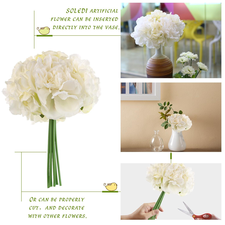 Amazon Artificial Peony Hydrangea Soledi Fake Silk Flowers For