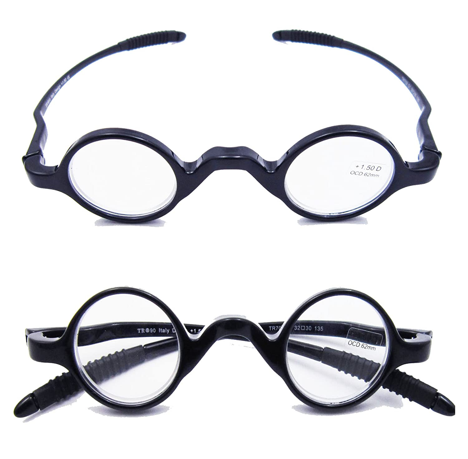 33784b5baa Amazon.com  Agstum TR90 Small round eyeglasses retro Reading Glasses Readers  32-30-135 (+1.00