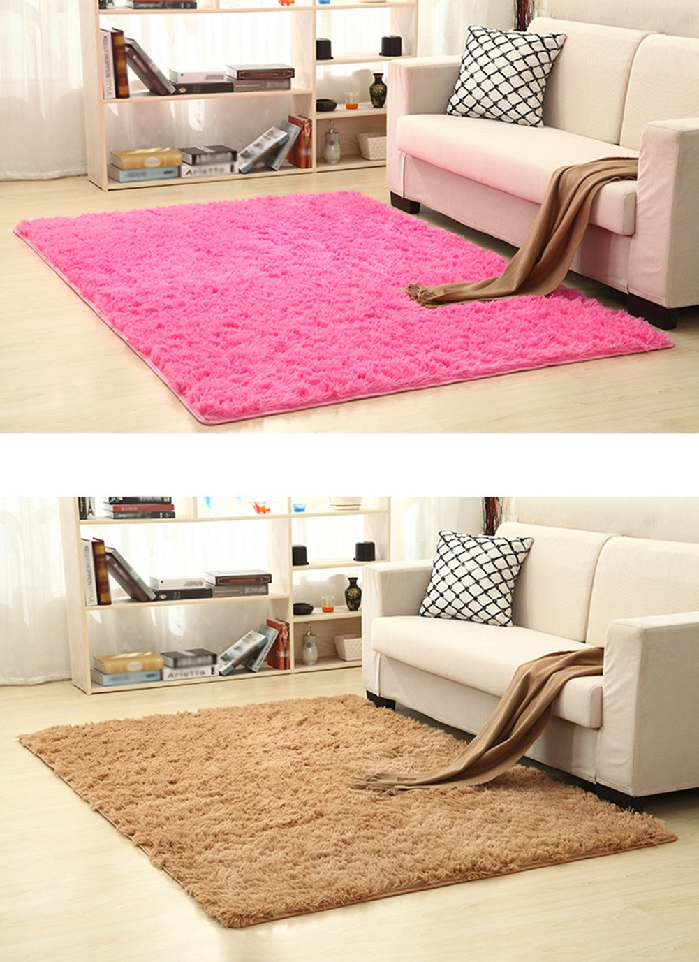 Cdet Modernas alfombras de seda sala de estar rectangular mesa de café sofá cama alfombras alfombras(Gris)