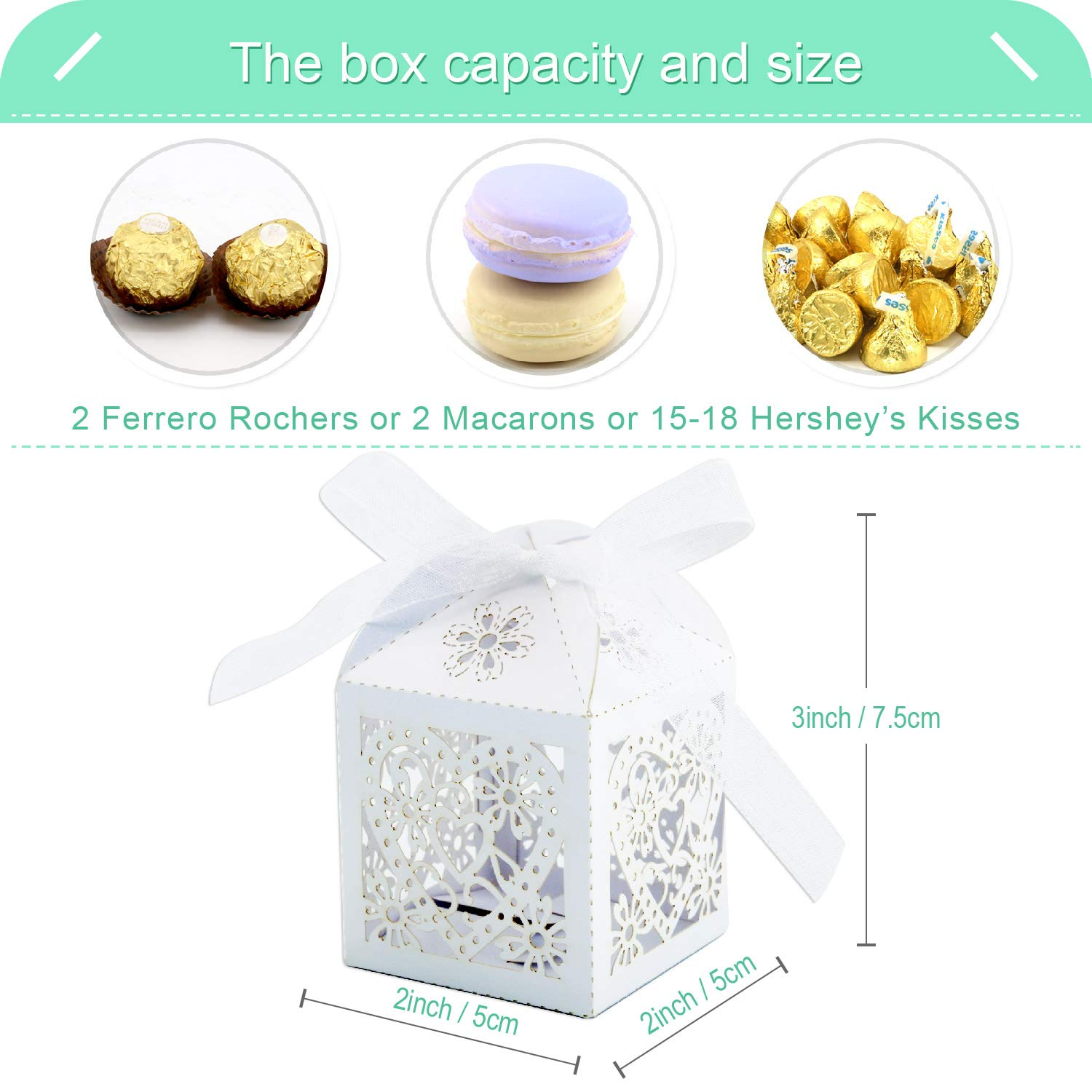 100, Navy COTOPHER 100 Pack Love Heart Laser Cut Candy Boxes Wedding Party Favor Boxes Small Gift Boxes for Wedding Bridal Shower Baby Shower Birthday Party