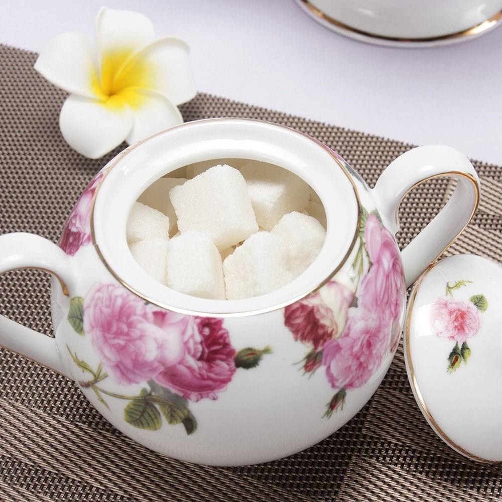Porlien Tea Set, Rose Camellia, Porcelain Gift Set (6 teacup sets with teapot) by Porlien (Image #6)